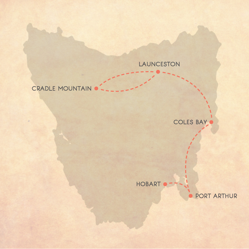 Tasmanian Road Trip Map, 7 days