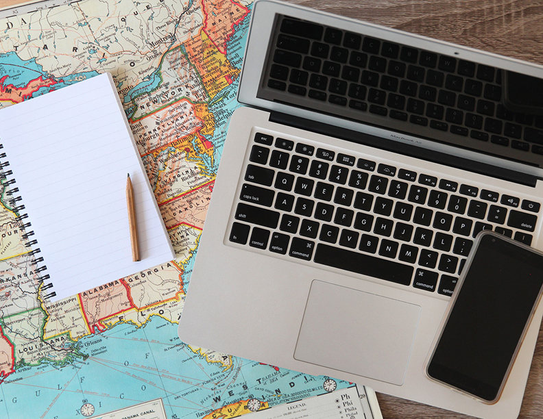 Laptop and Map Photo Pack