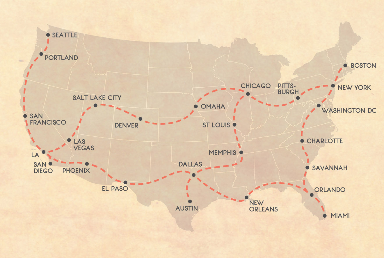 USA Bus Route Map