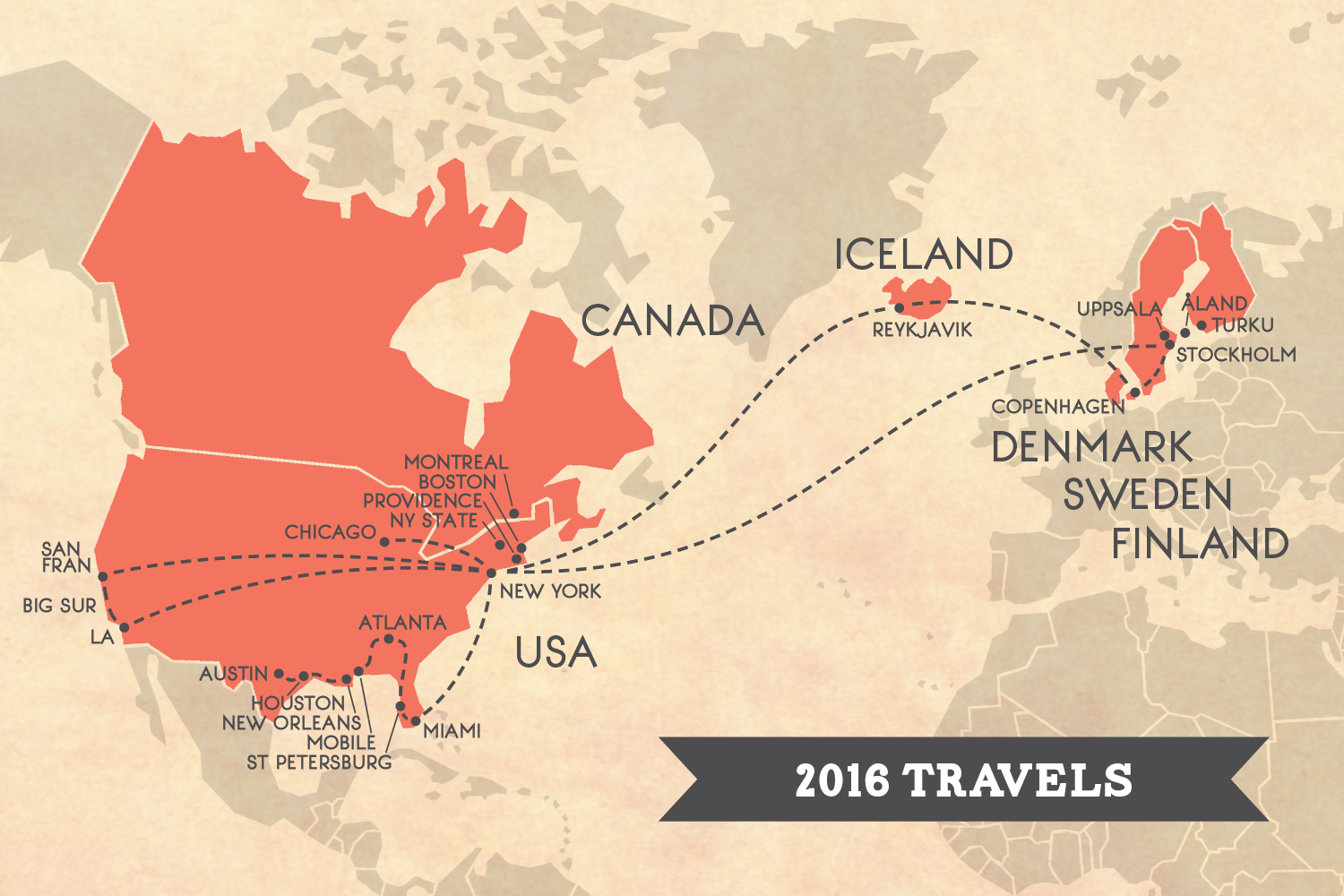 2016 travel map