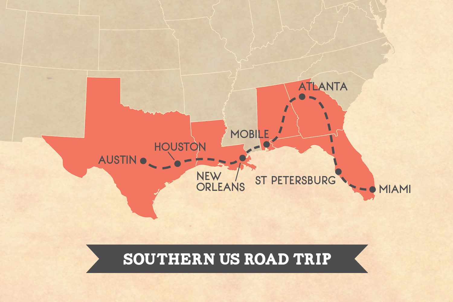 Southern US road trip map