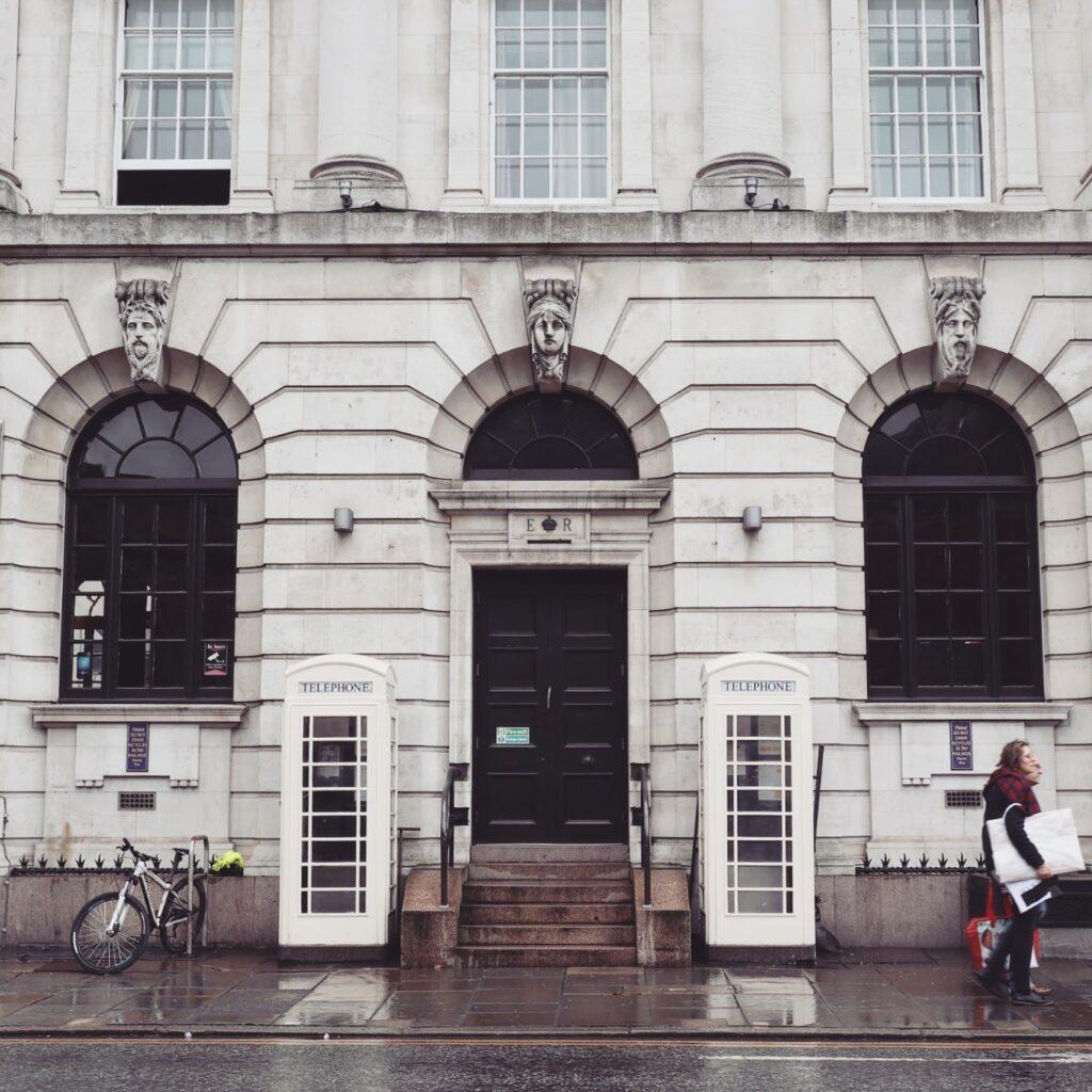 White telephone boxes, Hull UK