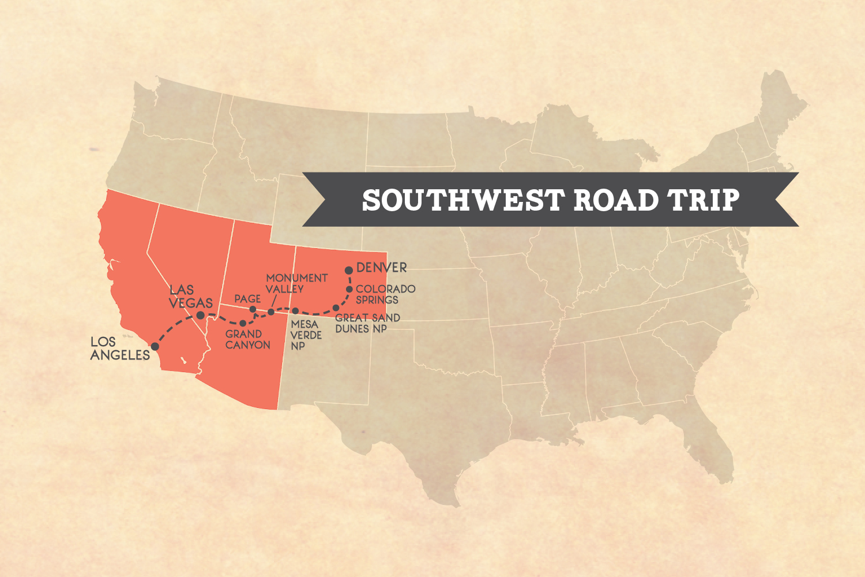 2-week Denver to LA road trip itinerary