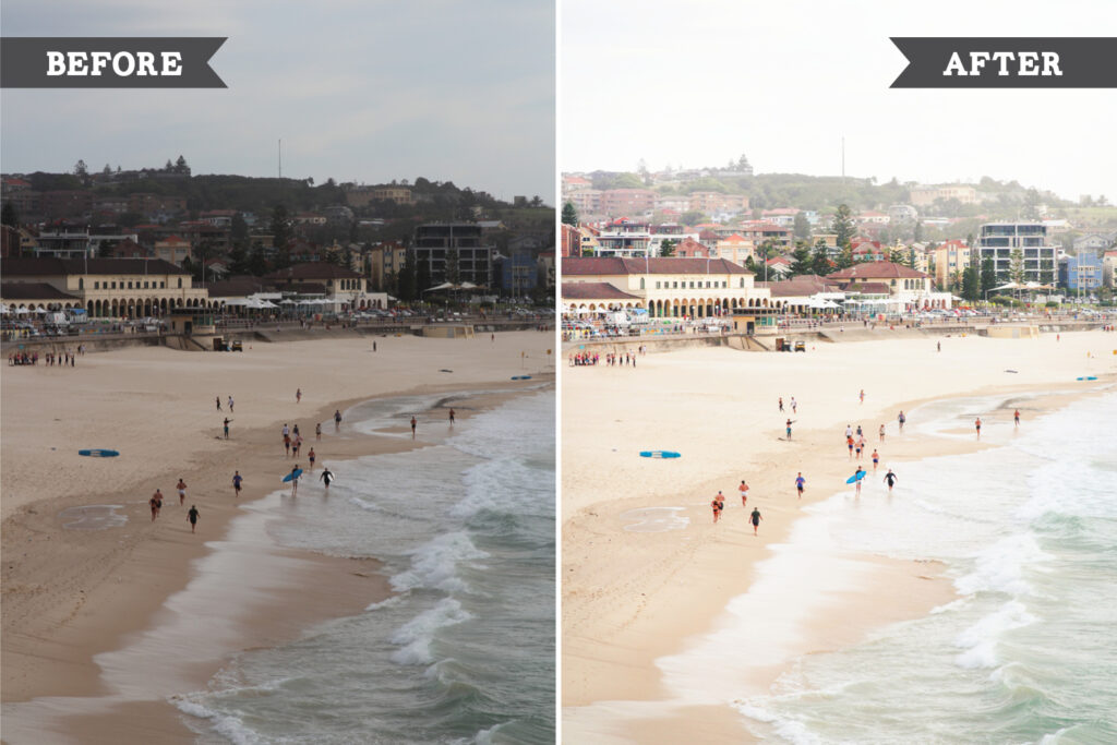 Editing beach photos with Lightroom - Before and After