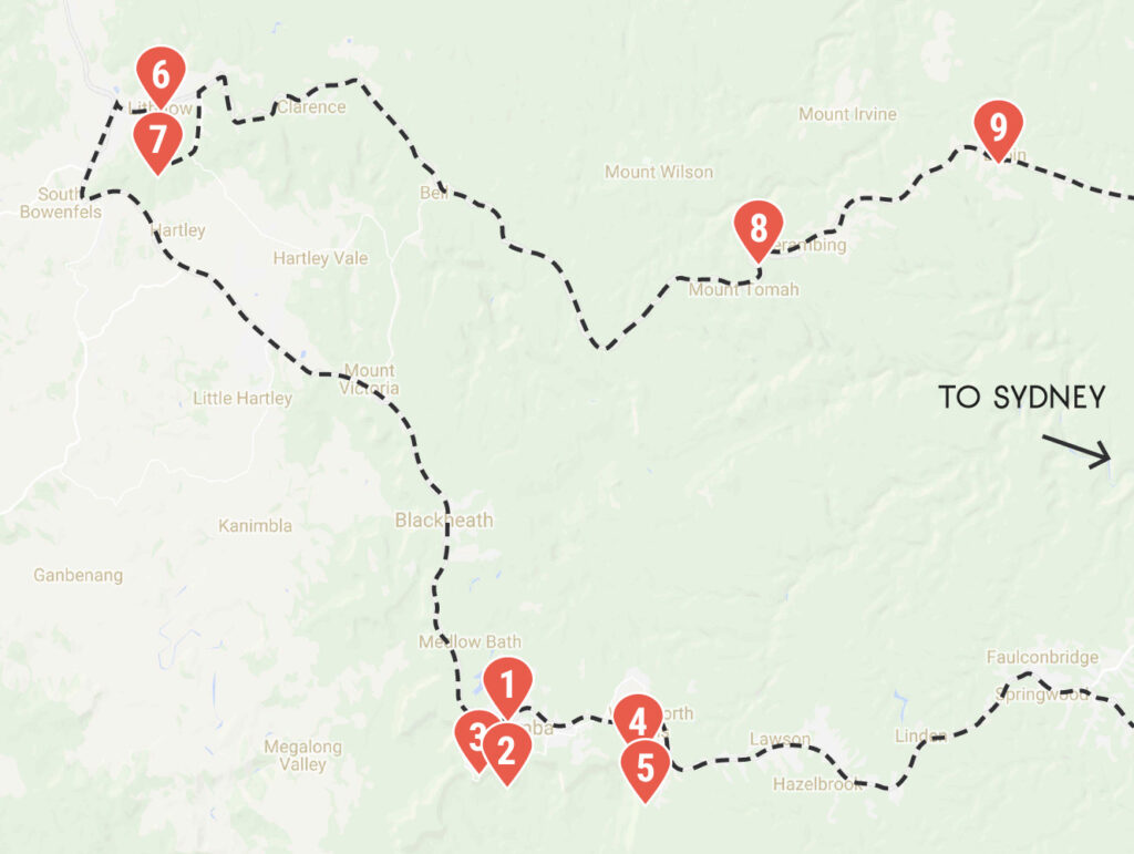 Blue Mountains Itinerary Map
