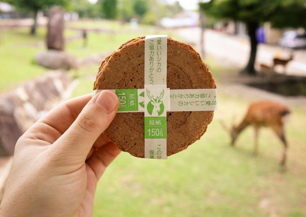 Deer snacks in Nara Park, Japan
