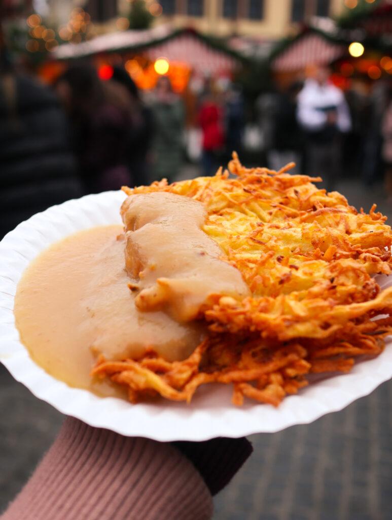 Kartoffelpuffer (Potato Hash Browns) at Germany's Christmas Markets
