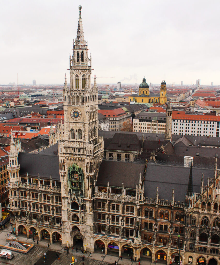 Views of the New Town Hall from the St Peter's Church tower in Munich
