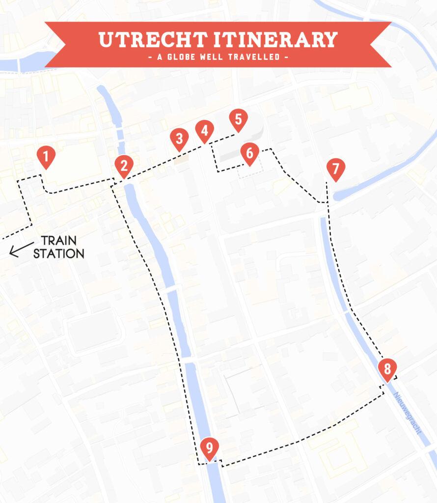 Utrecht self-guided walking tour map