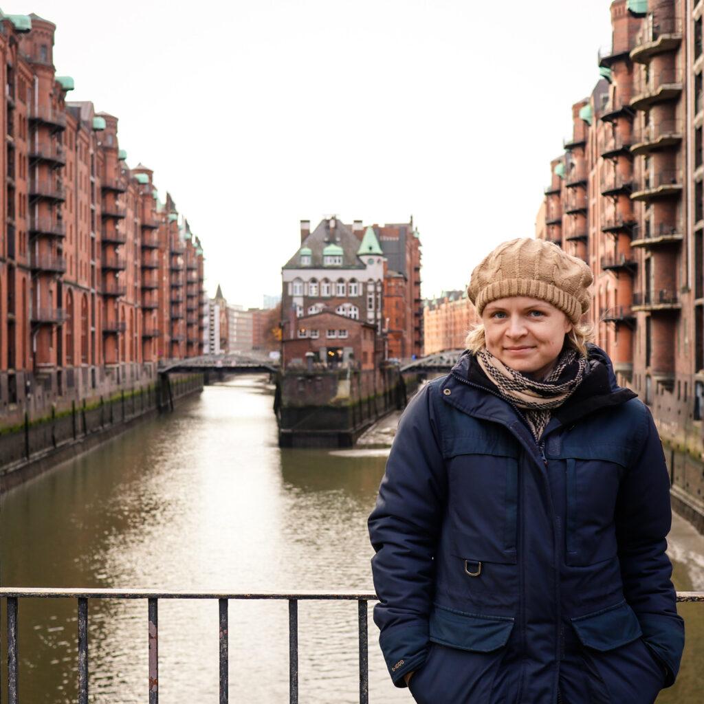 Bridge views of the Speicherstadt warehouse district in Hamburg