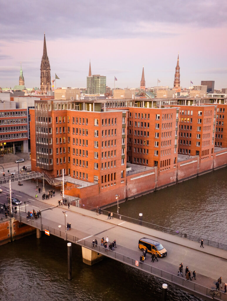 Views of the city from Elbphilharmonie concert hall in Hamburg