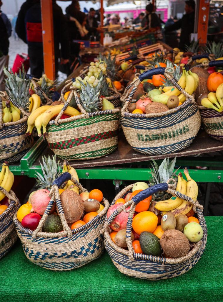 Baskets of fresh produce at the Fischmarkt in Hamburg