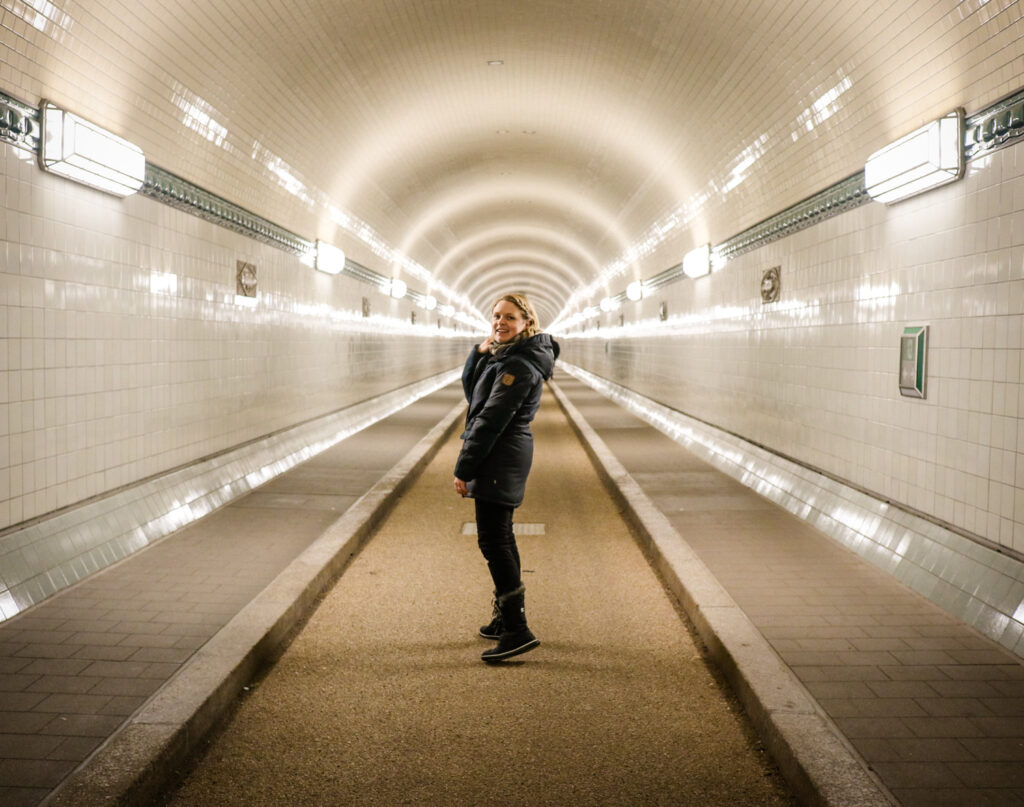 Standing at the entrance to the Elbtunnel in Hamburg