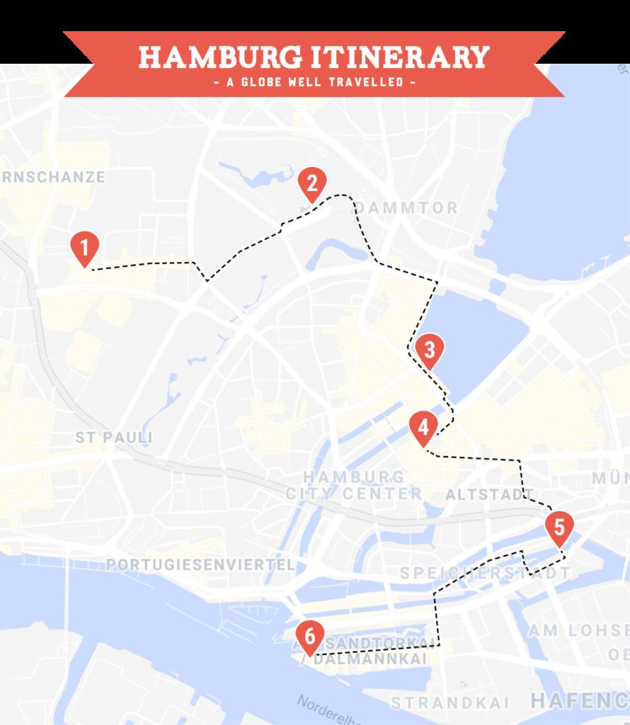 Day one Hamburg itinerary map