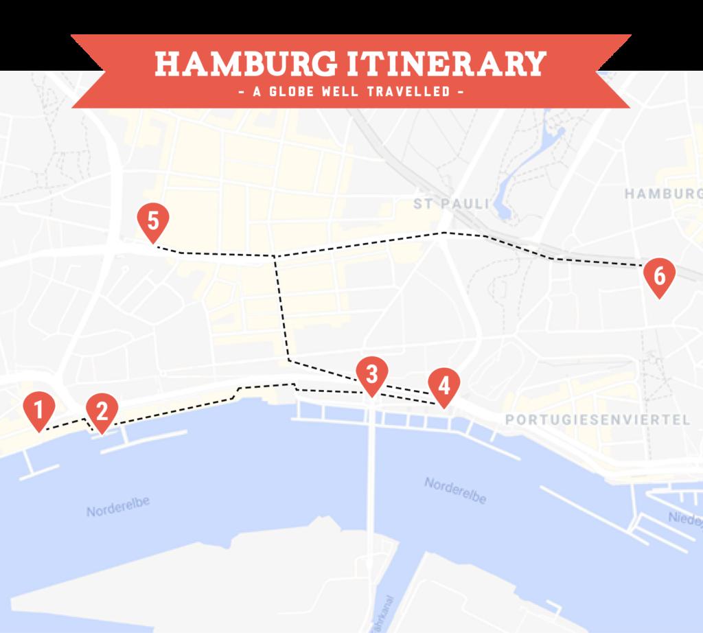 Day two Hamburg itinerary map