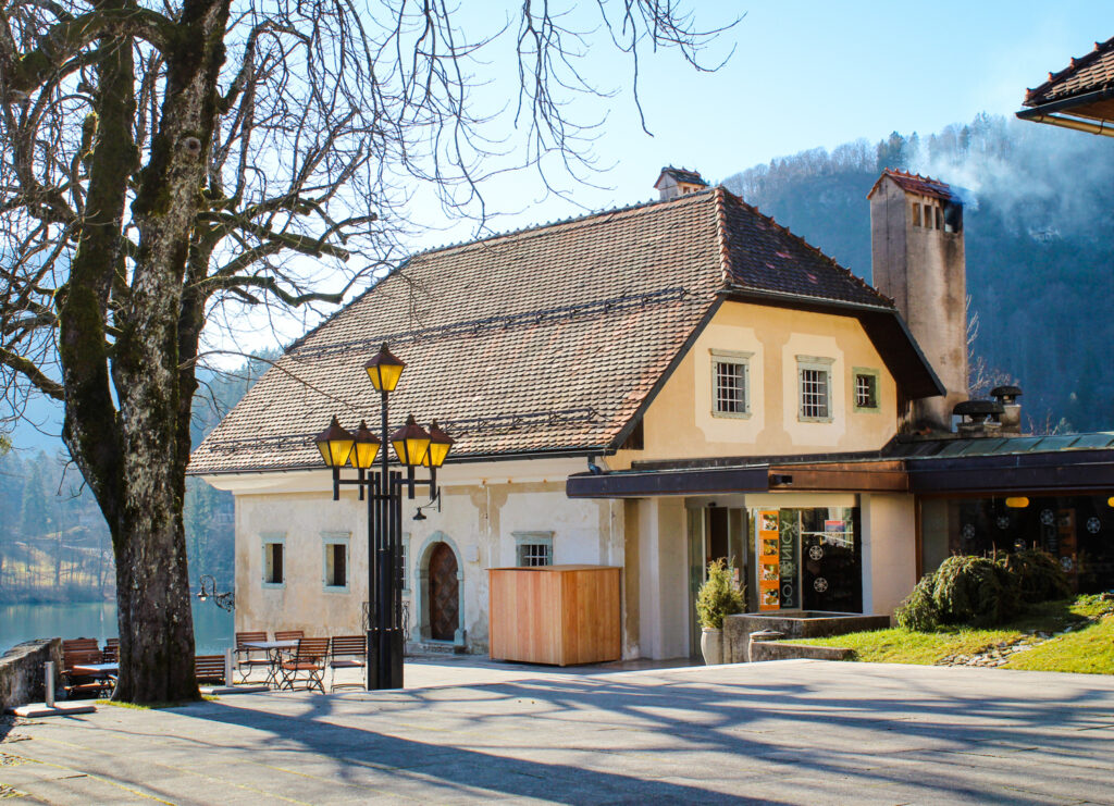 One of the buildings on Bled Island in Slovenia
