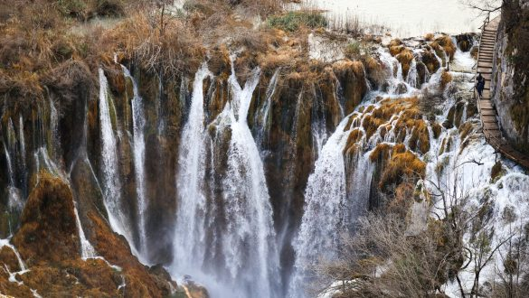 Winter views of waterfalls at Plitvice Lakes National Park in Croatia