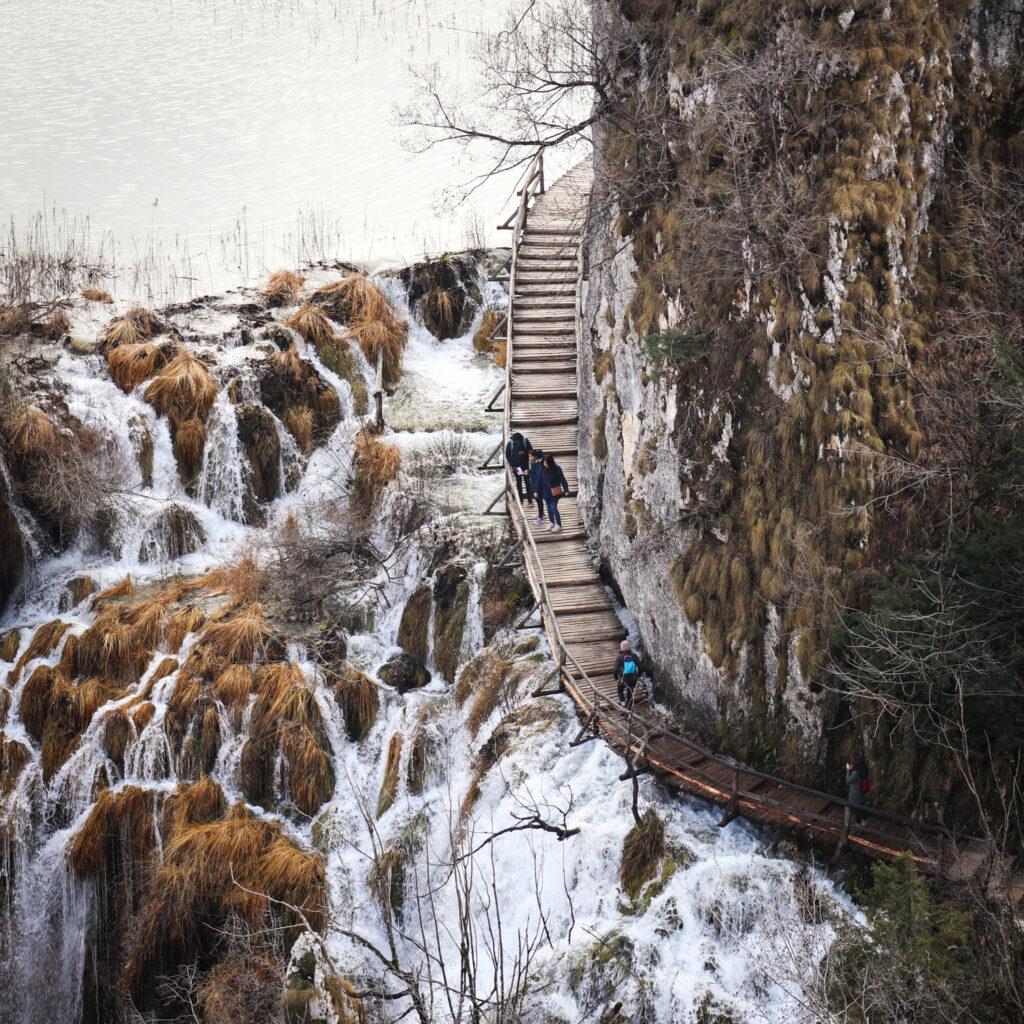 Winter waterfalls at Plitvice Lakes National Park in Croatia
