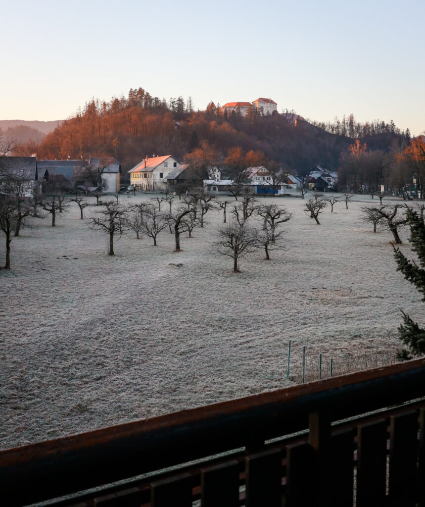 Views of Bled Castle from our Airbnb in Bled, Slovenia