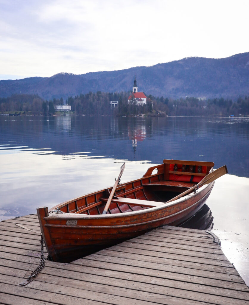 A rowboat for hire on Lake Bled in Slovenia