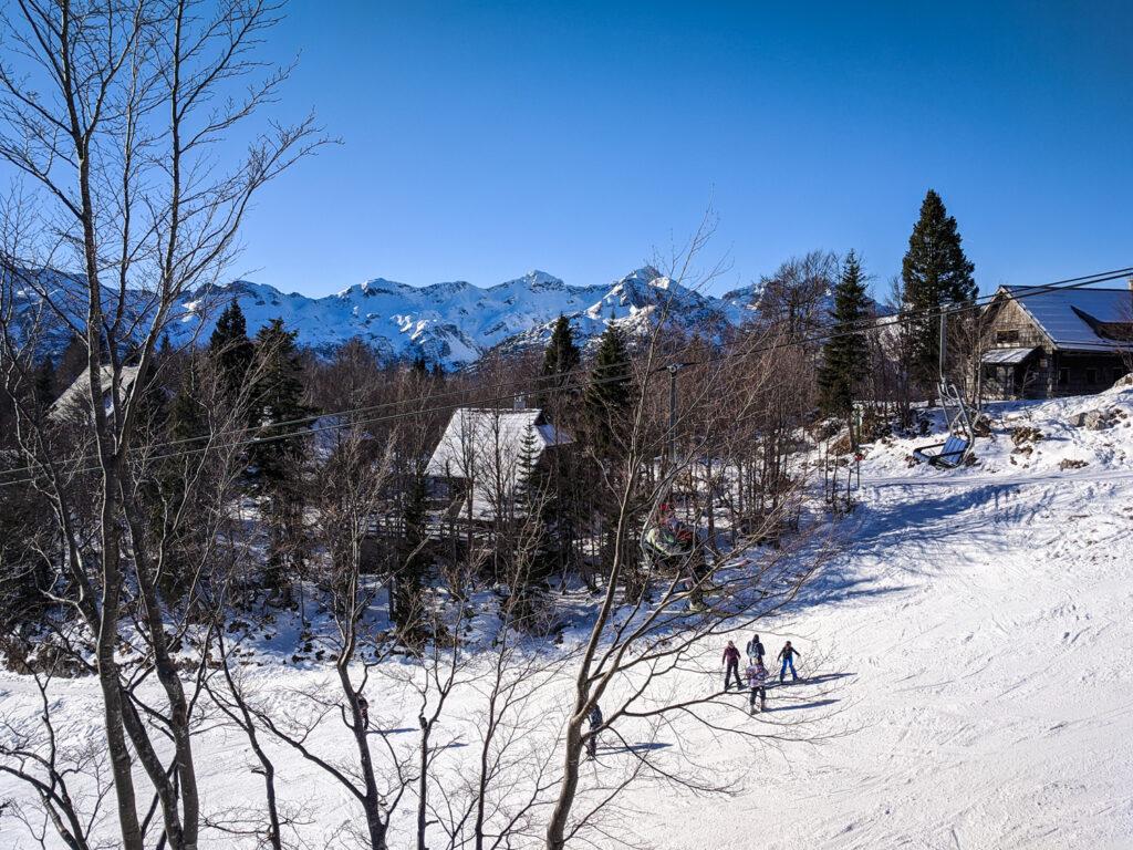 Ski slopes at Vogel ski resort in Slovenia