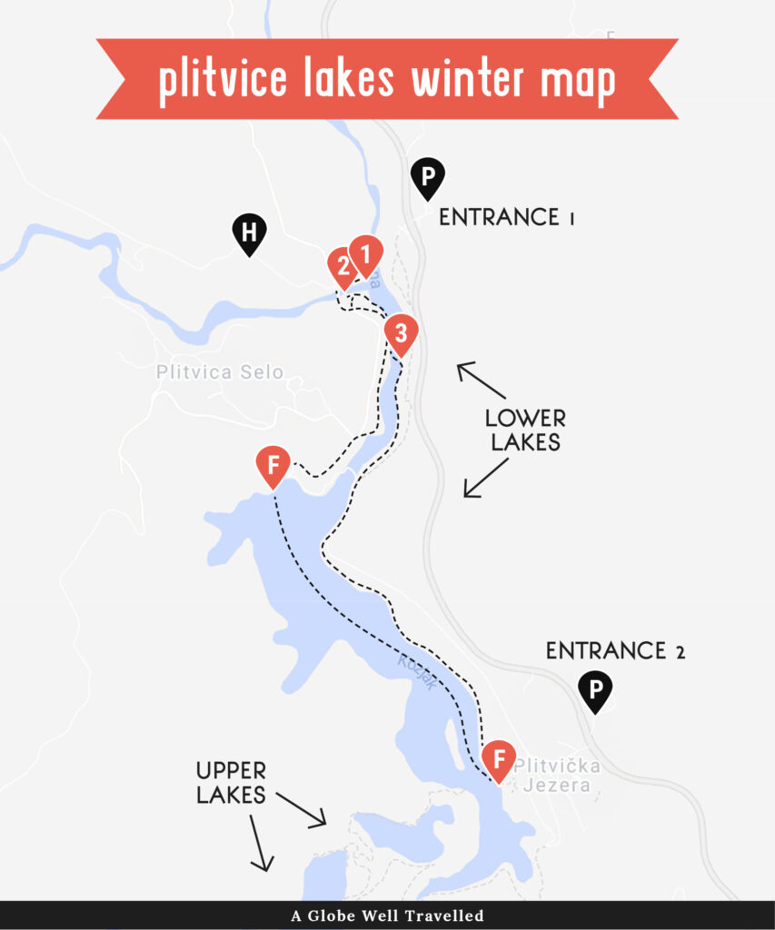 Map of Plitvice Lakes with winter walking route