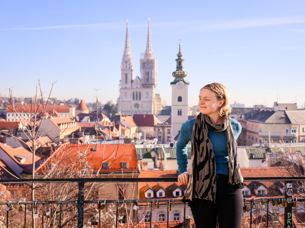Panoramic viewpoint with view over old town Zagreb in Croatia