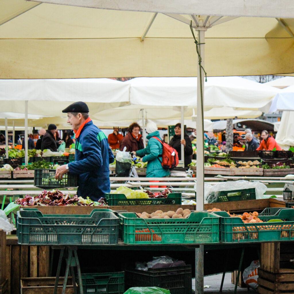 Produce vendors at Central Market in Ljubljana, Slovenia