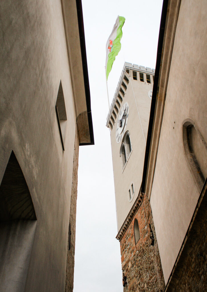 A flaf flying above the tower of Ljubljana Castle in Slovenia