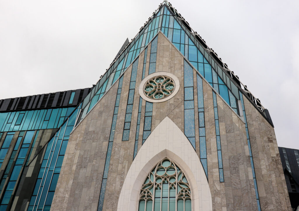 The modern facade of the new university church in Leipzig