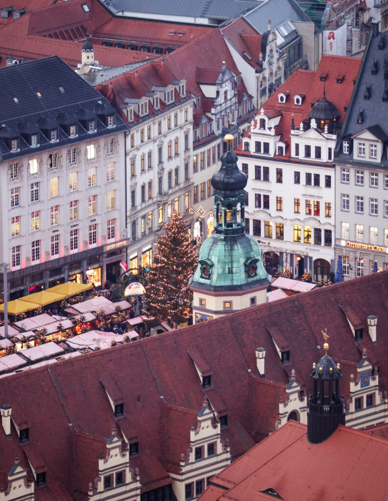 Leipzig Rathaus and market square from Panorama Tower