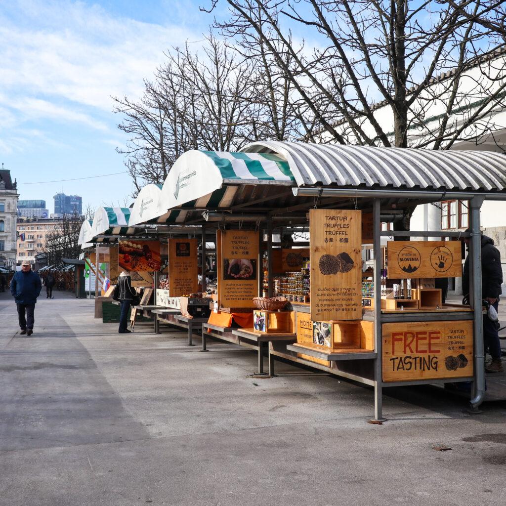 Stalls at Central Market in Ljubljana, Slovenia