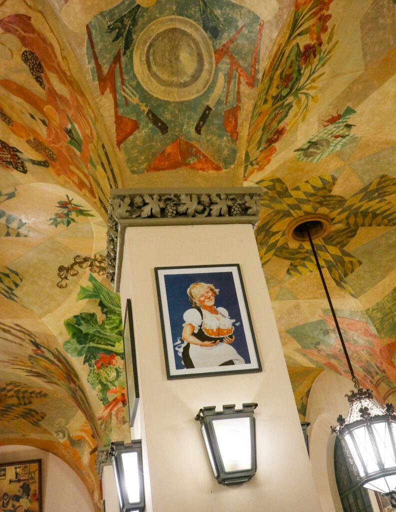 Decor inside Hofbräuhaus in Munich, Germany