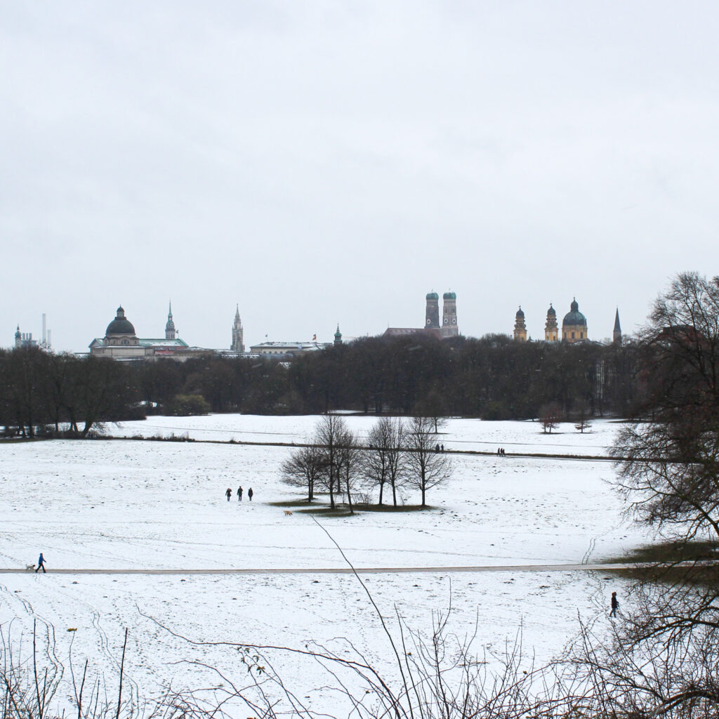 Snow at the English Garden in Munich, Germany