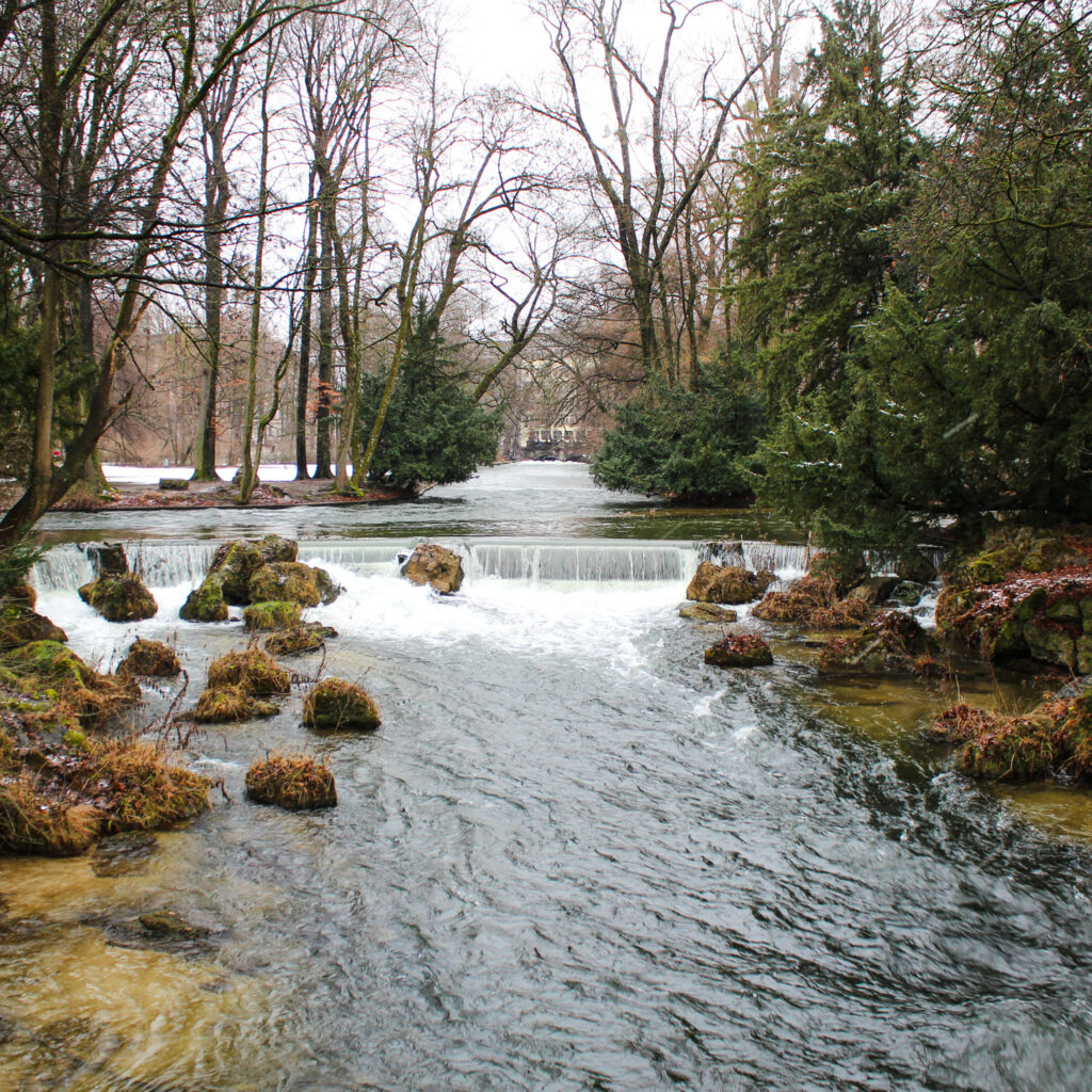 A waterfall at the English Garden in Munich, Germany